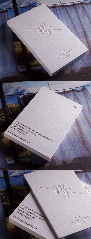 tarjetas de presentacion blancas con relieve