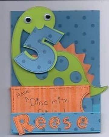 tarjetas de cumpleaños de dinosaurios hecha a mano