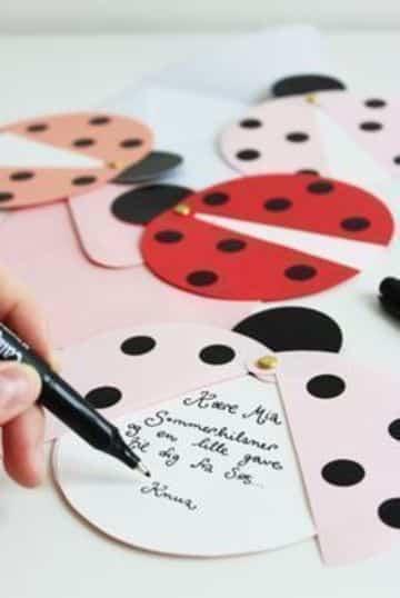 tarjetas de cumpleaños de ladybug hecha a mano