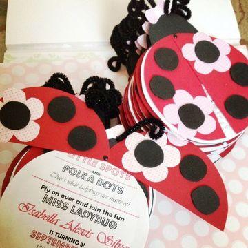 tarjetas de cumpleaños de ladybug invitacion