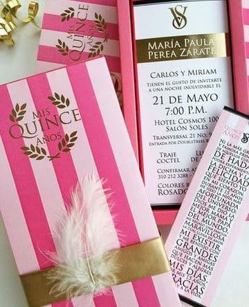 diseños de tarjetas para 15 años rosa y dorado