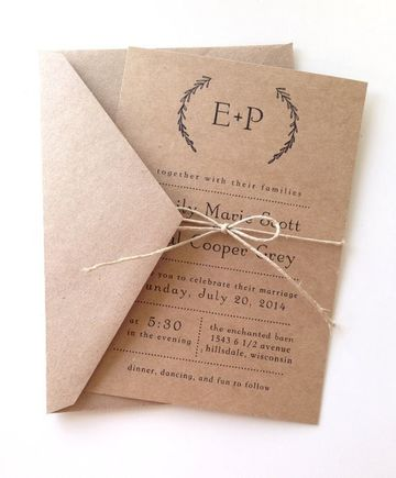 invitaciones de papel kraft clasicas