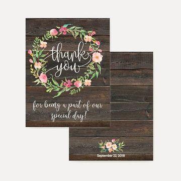 tarjetas de agradecimiento para bodas rustica