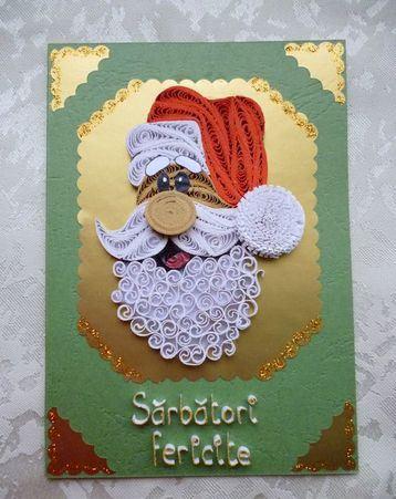 tarjetas de navidad en filigrana de santa