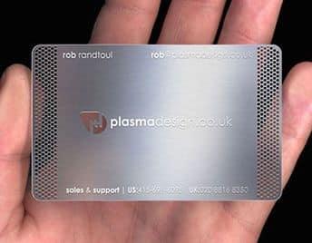 tarjetas de presentacion metalizadas con cortes