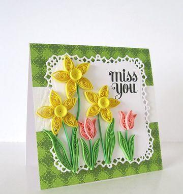 tarjetas en filigrana de papel con motivo de flores