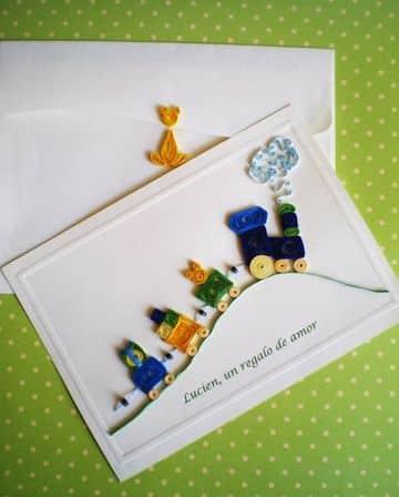 tarjetas en filigrana de papel para niños