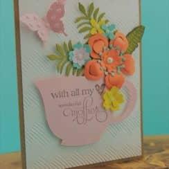 tarjetas para las madres en su dia con flores repujadas