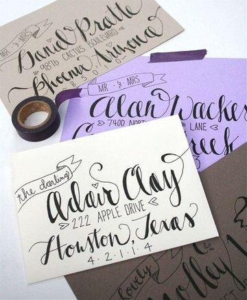decoracion de cartas a mano con tipografia