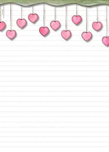 hojas para cartas de amor tierna