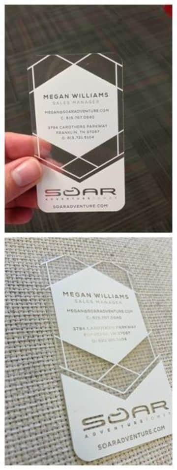 tarjetas de presentacion transparentes con blanco