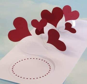 tarjetas pop up de amor de corazones