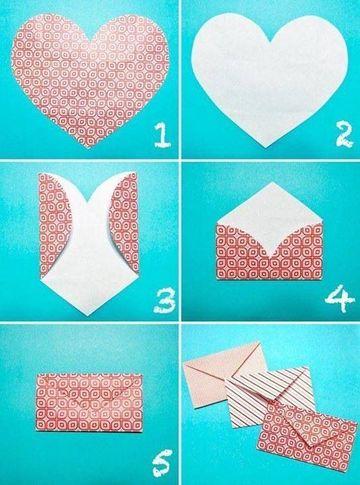 como hacer sobres bonitos con un corazon de papel
