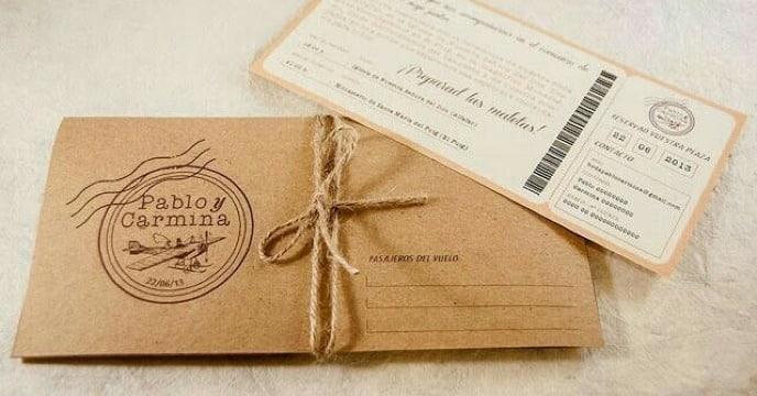 sobres de papel kraft para invitaciones sencillos