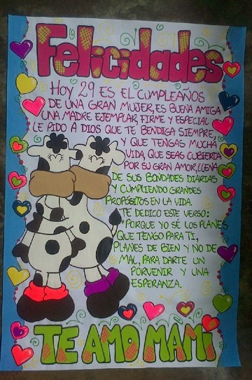 carteles de cumpleaños en cartulina para madres