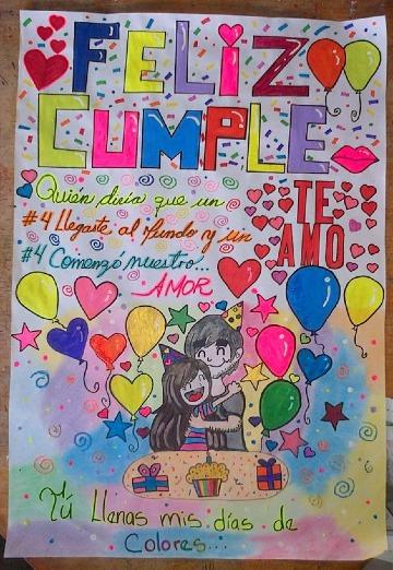 carteles de cumpleaños en cartulina para novios