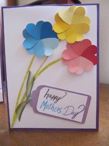 tarjetas con hojas de colores para madres