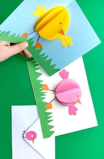 tarjetas con hojas de colores para niños