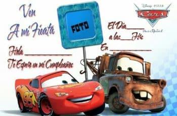tarjetas de cumpleaños de cars para editar