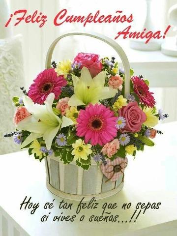 tarjetas de cumpleaños con flores para una amiga