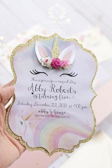 bonitas invitaciones de unicornio para niña