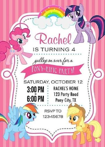 invitaciones de little pony digitales