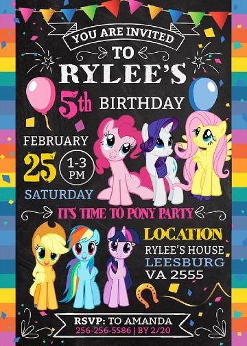invitaciones de little pony editables