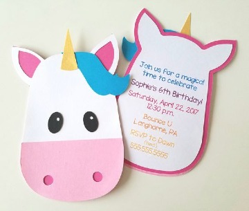invitaciones de unicornio para niña para imprimir