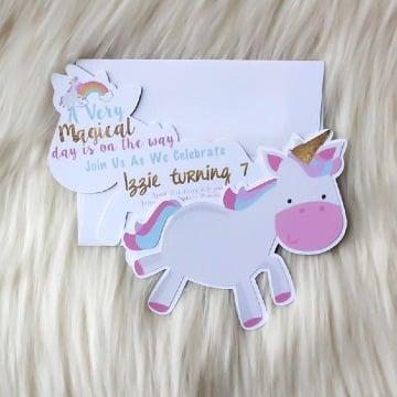 Tiernas Invitaciones De Unicornio Para Niña 3 Años