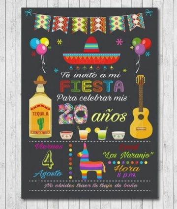 modelos de invitaciones para fiesta mexicana