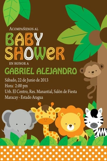 tarjetas de animales de la selva para baby shower