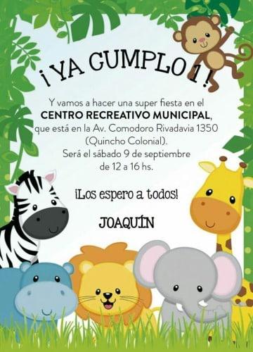 tarjetas de animales de la selva para cumpleaños