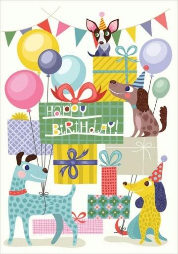 tarjetas de cumpleaños con perros para enviar