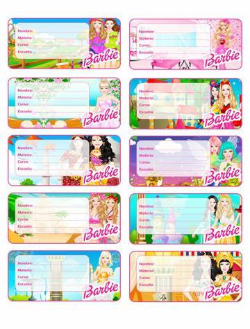 etiquetas para cuadernos de niñas barbie