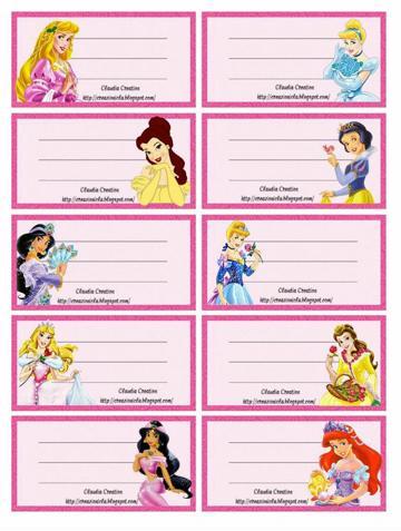 etiquetas para cuadernos de niñas de princesas