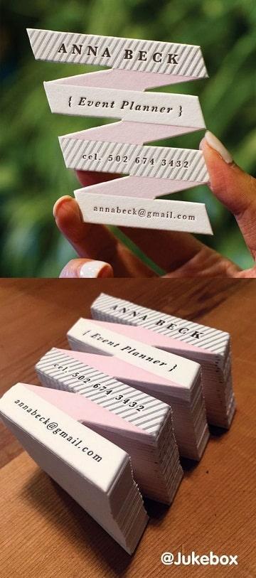 tarjetas de organizadores de eventos creativas