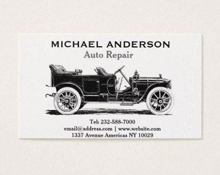 tarjetas de presentacion de autos taller mecanico