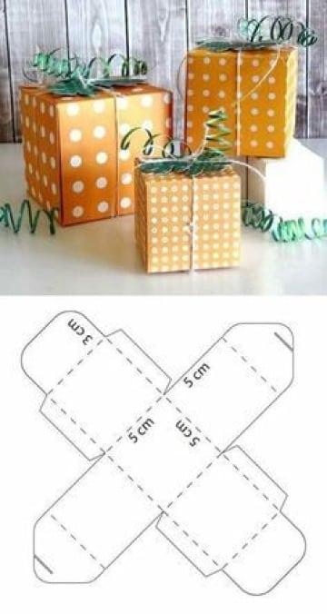 moldes de cajas cuadradas para regalos
