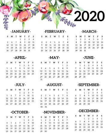 calendario 2020 para imprimir con ilustraciones