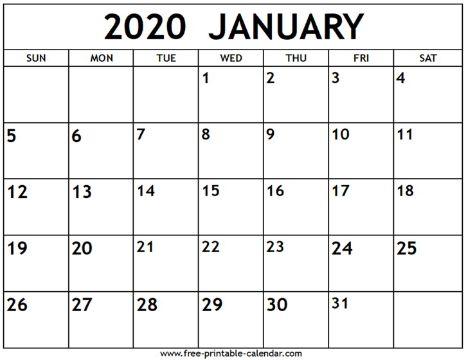 calendario 2020 para imprimir por meses