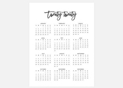 calendario 2020 para imprimir tipografias