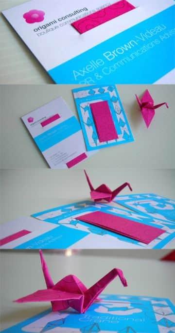 tarjetas de presentacion de manualidades origami