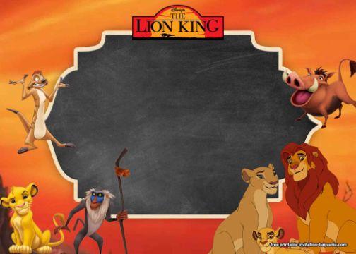 invitaciones del rey leon para editar personajes