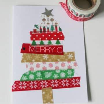 tarjetas navideñas para niños con cintas