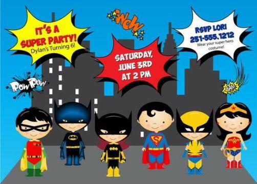 invitaciones de cumpleaños para niños supeheroes