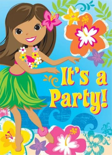 Creativas Invitaciones Para Fiesta Luau De 3 A 7 Años