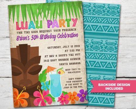 invitaciones para fiesta luau sobres