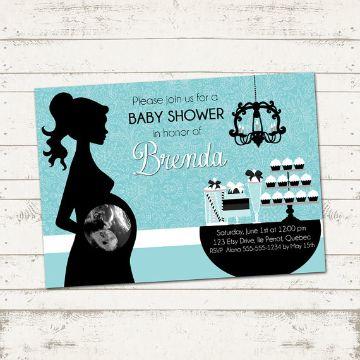 tarjetas de baby shower mujer imagen silueta