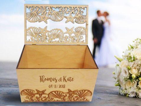 tarjetas de boda en la playa cajas