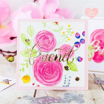 tarjetas de amistad con flores tecnica acuarela